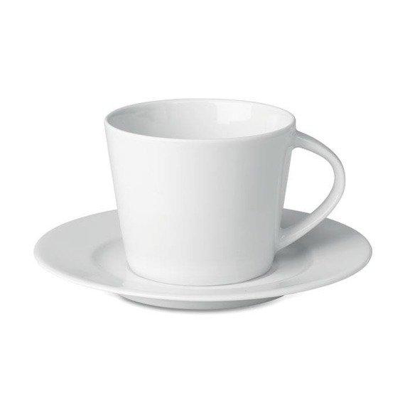 Kubek cappuccino i talerzykiem