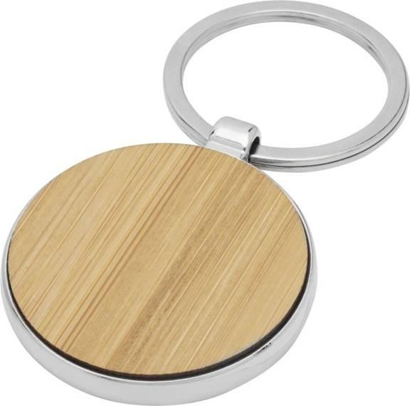 Okrągły brelok do kluczy Nino z bambusa